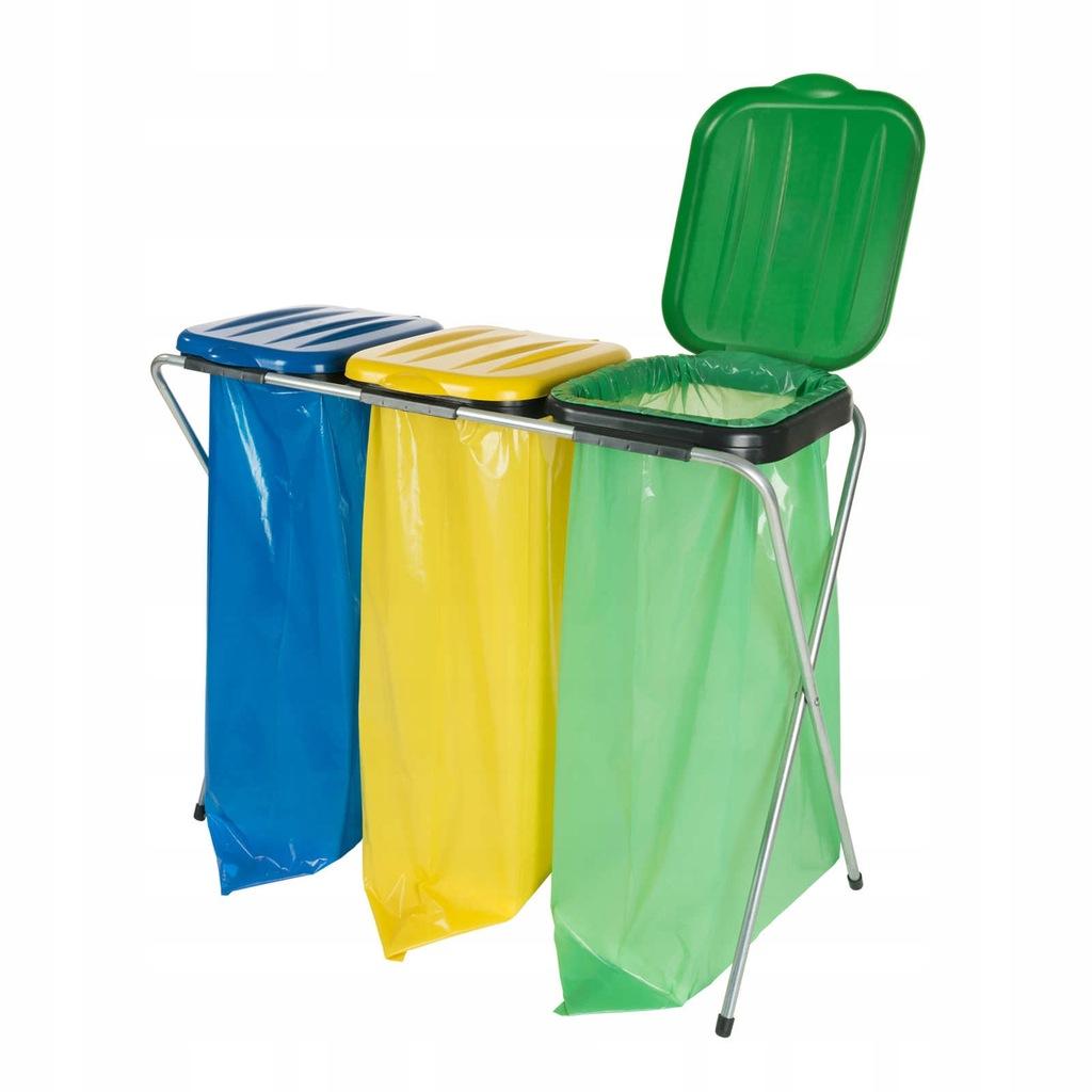 Stojak uchwyt na worki na śmieci 120L do 3 odpadów