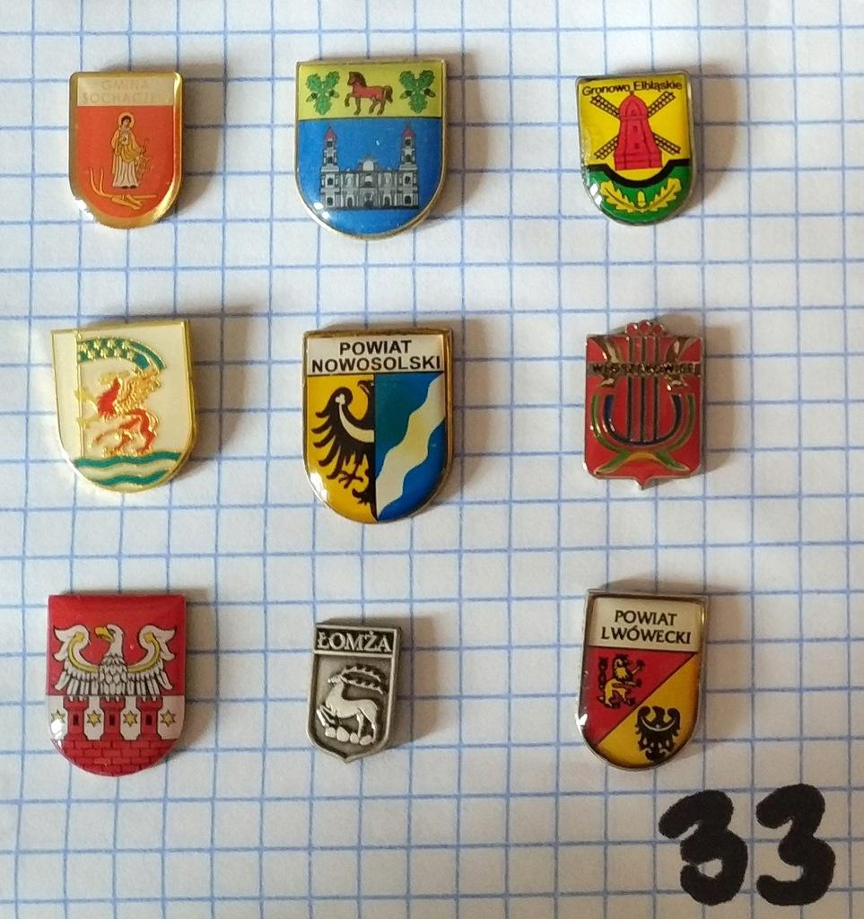 Zestaw odznak herb gmina powiat mix heraldyka 33