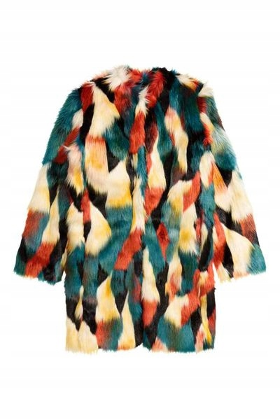 tanio cudne kolorowe BLOGERSKIE FUTRO H&M s/m