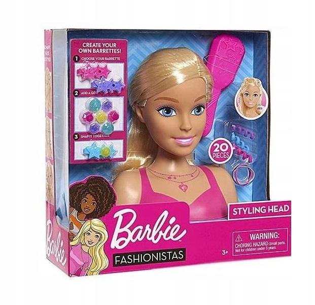 Barbie głowa do stylizacji blond + akcesoria