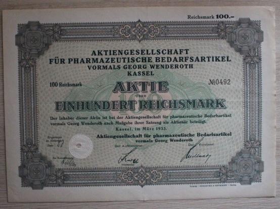 100 Reichsmark 1933 -AKCJA ,OBLIGACJA Z FARMACJI