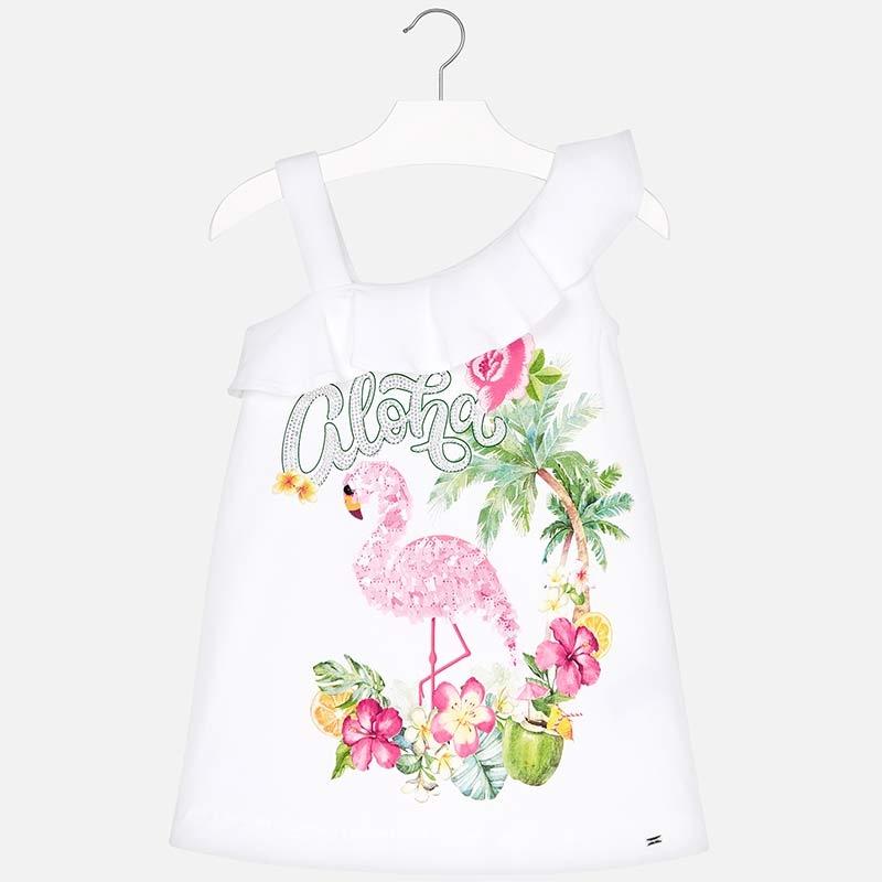 Sukienka z flamingiem rozmiar 128 MAYORAL