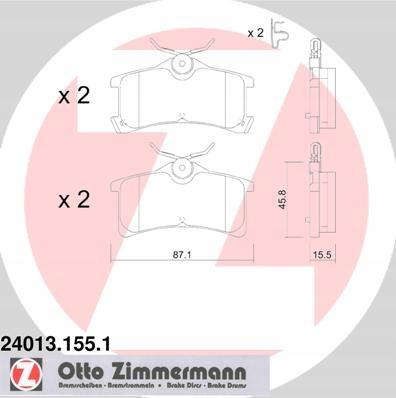 KLOCKI PRZÓD ZIMMERMANN TOYOTA COROLLA 1.6 Aut.