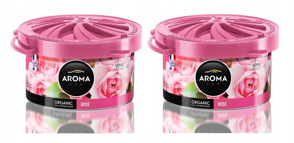 Zapach samochodowy ORGANIC AromaCar ROSE RÓŻA 2szt