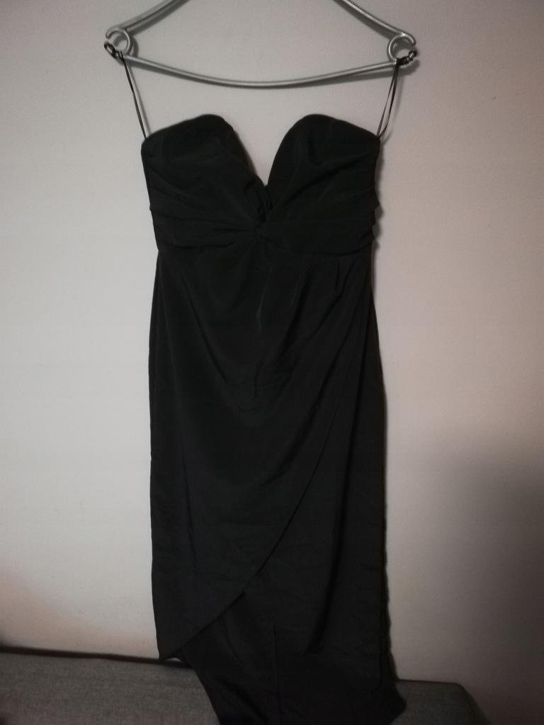 Seksowna czarna asymetryczna sukienka H&M S