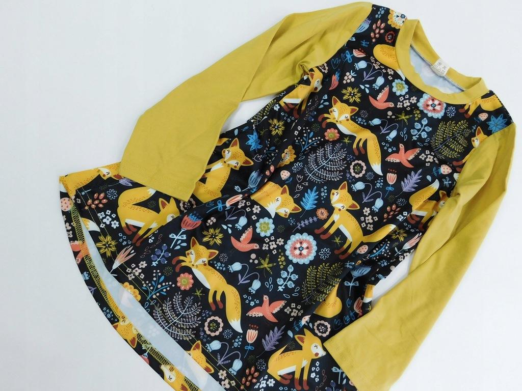 2009kl18 dziecięca BLUZKA żółta ze WZORAMI 120cm