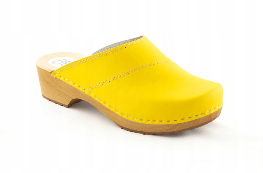 Skórzane chodaki żółte z dwoma przeszyciami rozm38
