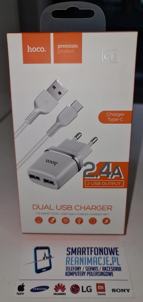 Ładowarka Hoco C12 - 2x USB + Kabel Typ-C