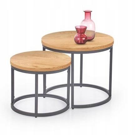 OREO stolik kawowy ława 2 sztuki dąb złoty Halmar