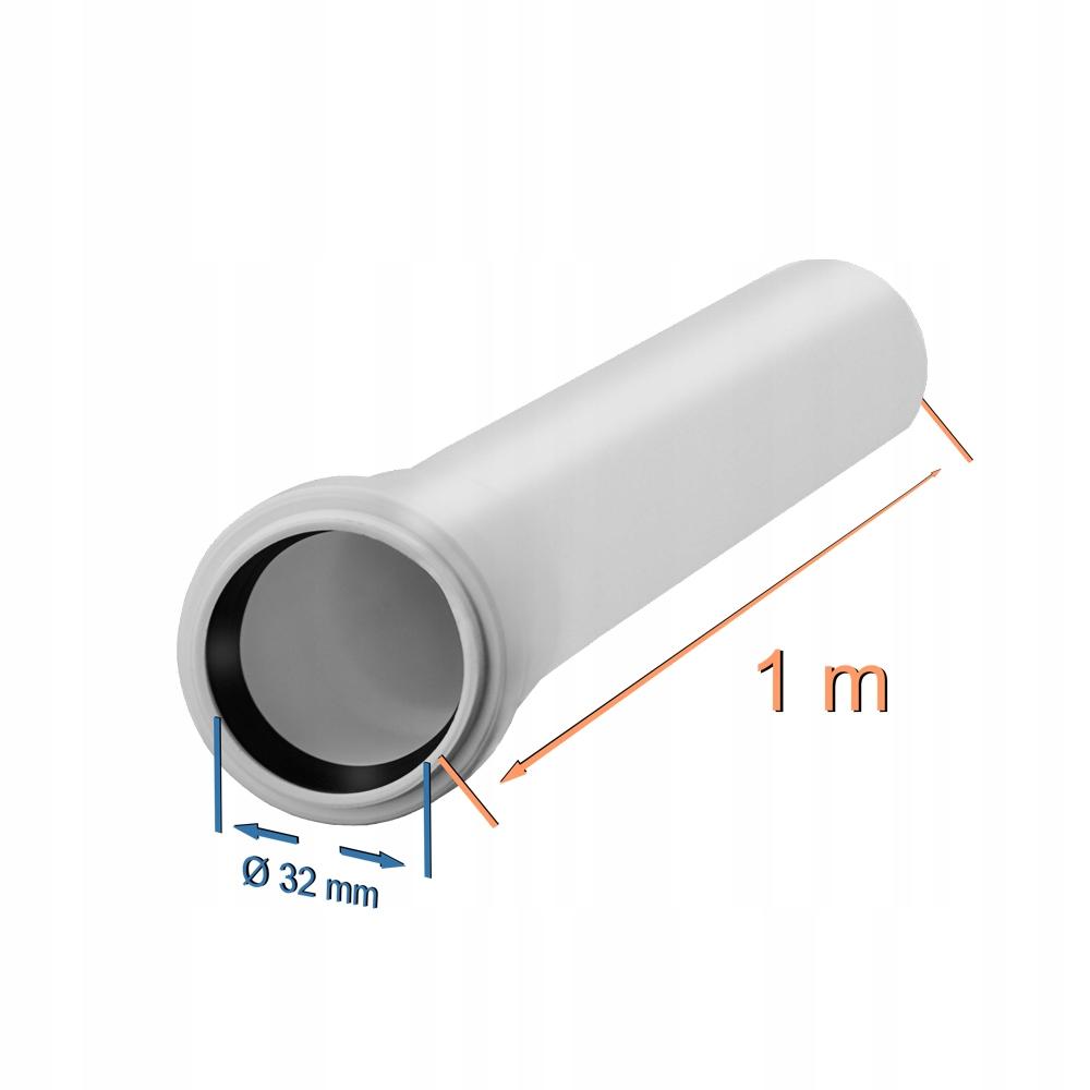Rura kanalizacyjna fi 32 długość 1m biała 32 / 1 m