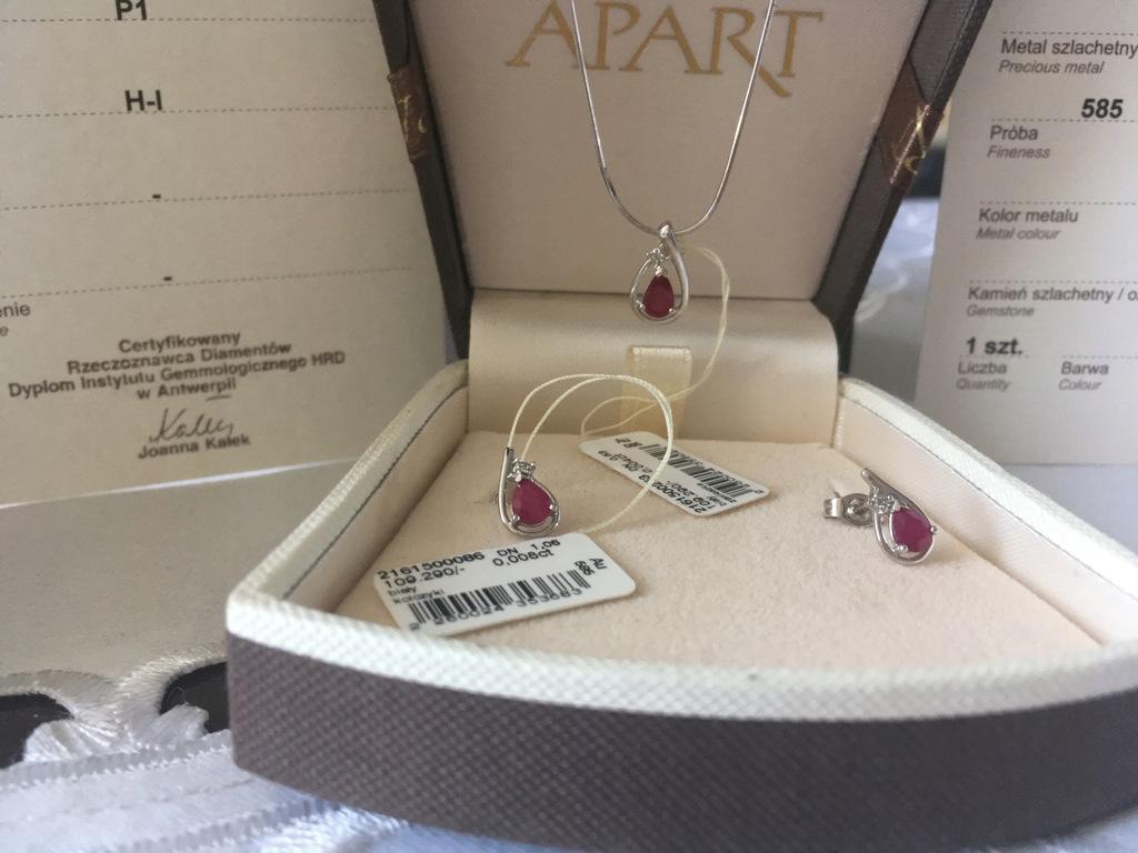 APART komplet z rubinami i brylantami CUDNY