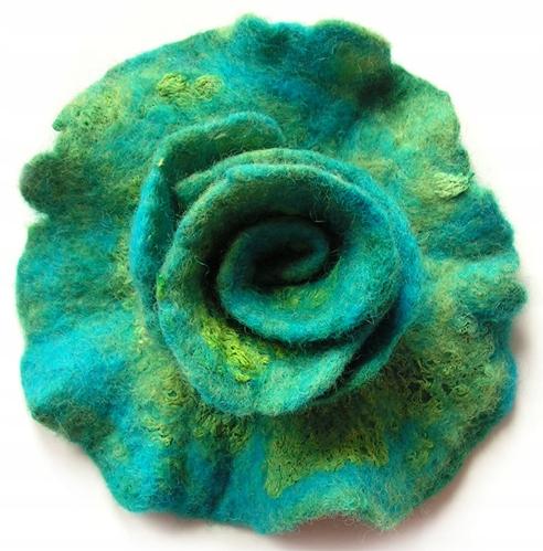 Filcowa broszka, broszka z filcu kwiat Zieleń