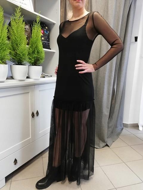 Sukienka czarna długa tiul Stradivarius 38 M
