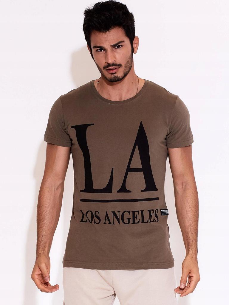 T-SHIRT MĘSKI LOS ANGELES {XL} OLIWKOWY