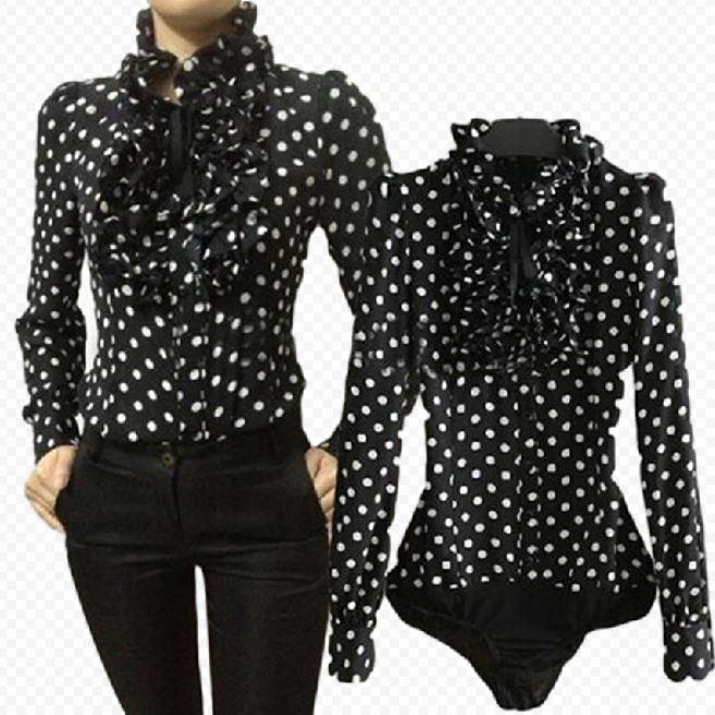 Koszula czarna w białe kropki z żabotem body S 36  9xhc1