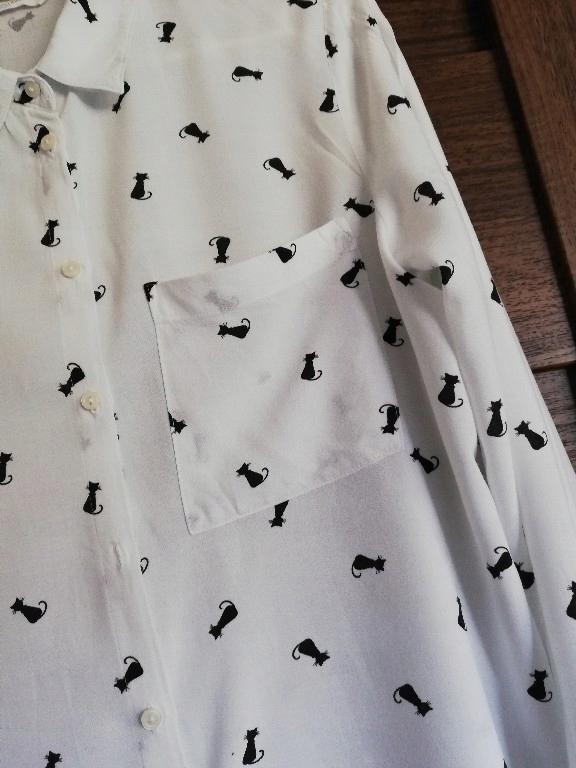 biała koszula w czarne koty 34 XS 8074926738 oficjalne  VCyc6