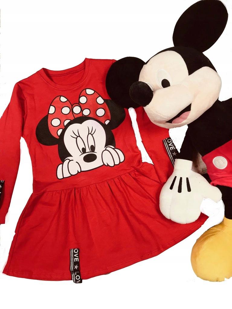 Sukienka dresowa MYSZKA MINNIE czerwona 152