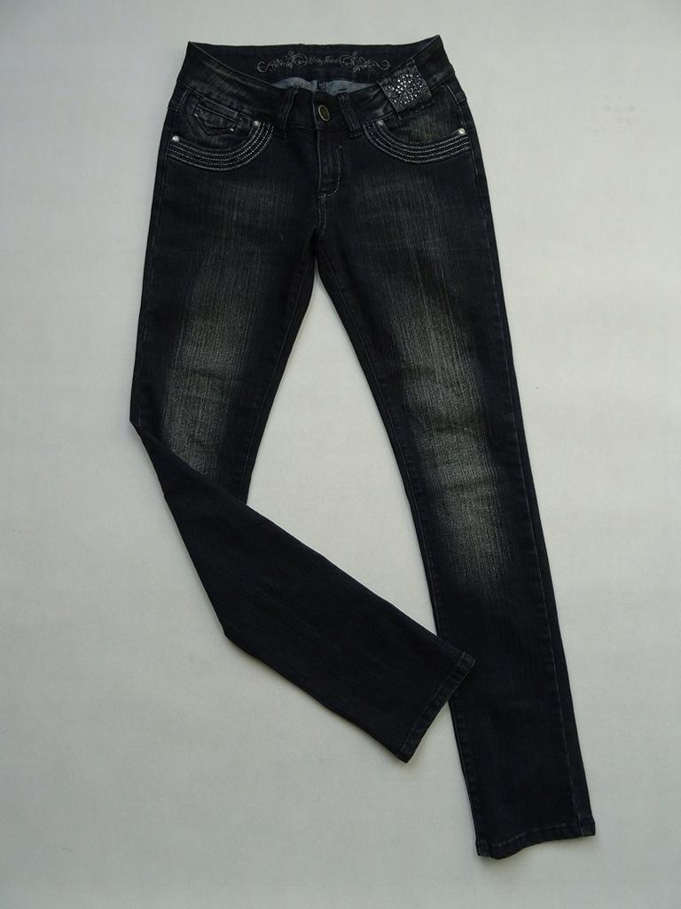 47_ GRANATOWE jeansy SREBRNE PRZESZYCIA 38/M