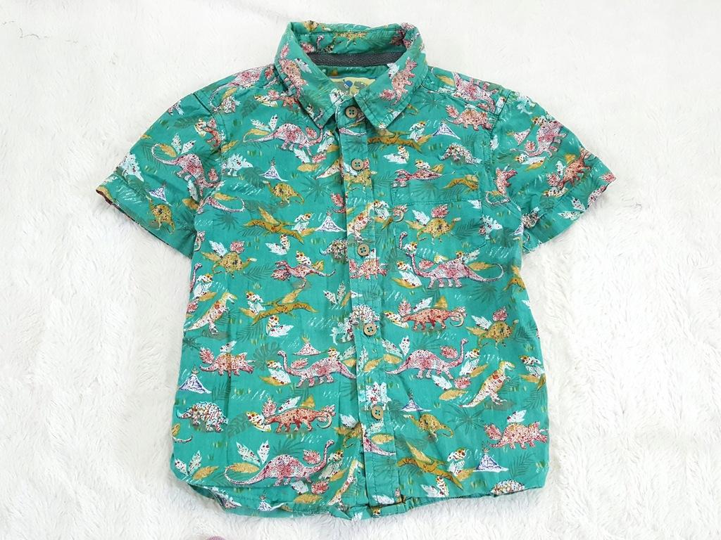 zielona letnia koszula w dinozaury 2-3 lata 92-98