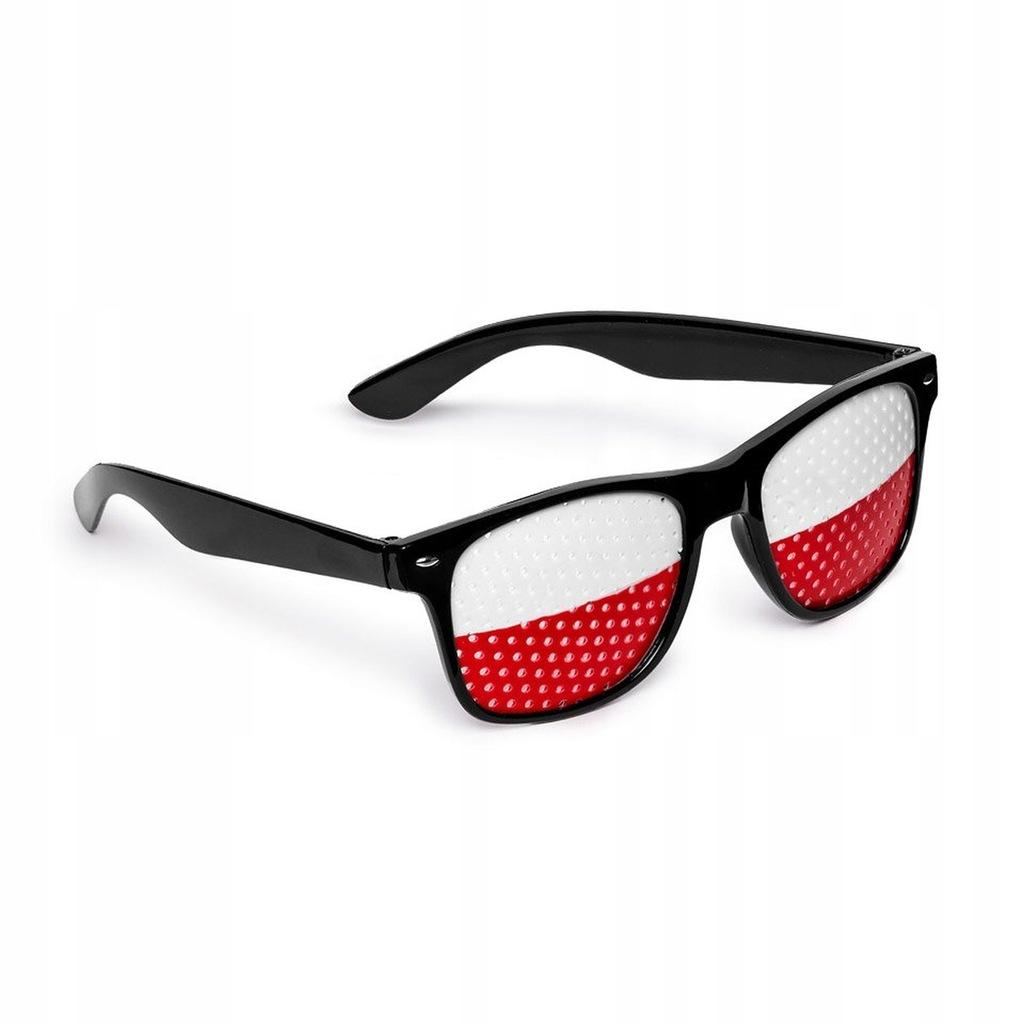 okulary słoneczne biało czerwone