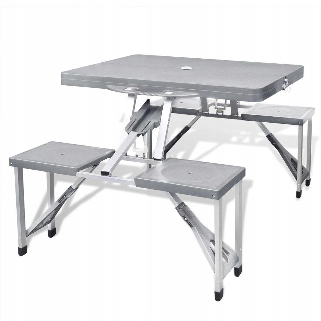 Zestaw kempingowy stół+krzesła aluminium kolor sza