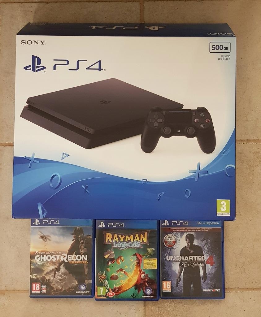 Sony PlayStation4 PS4 Slim 500GB + 3 gry