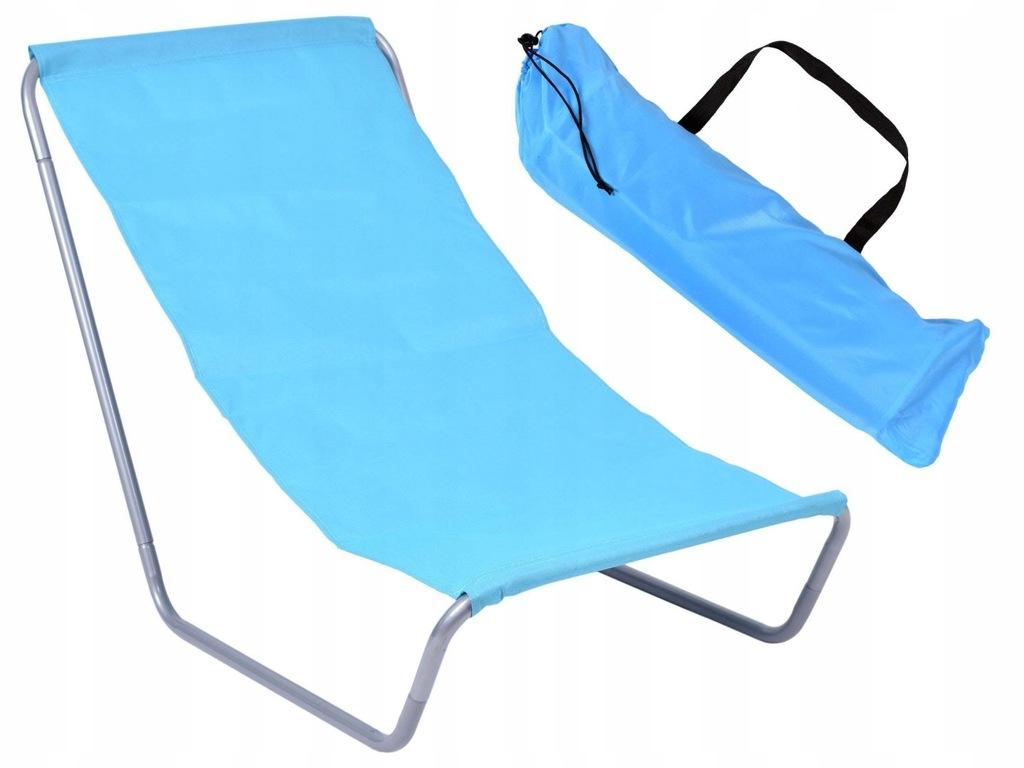 Leżak turystyczny plażowy składany Olek niebieski