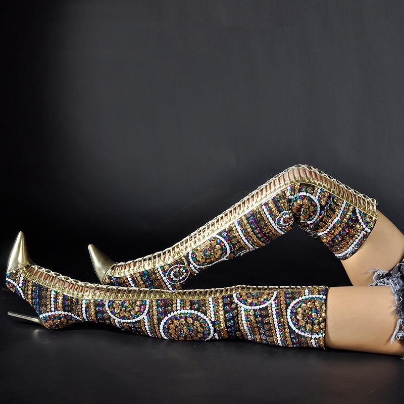 Złote Wiązane Sznurowane Kamienie Cekiny Haft 41
