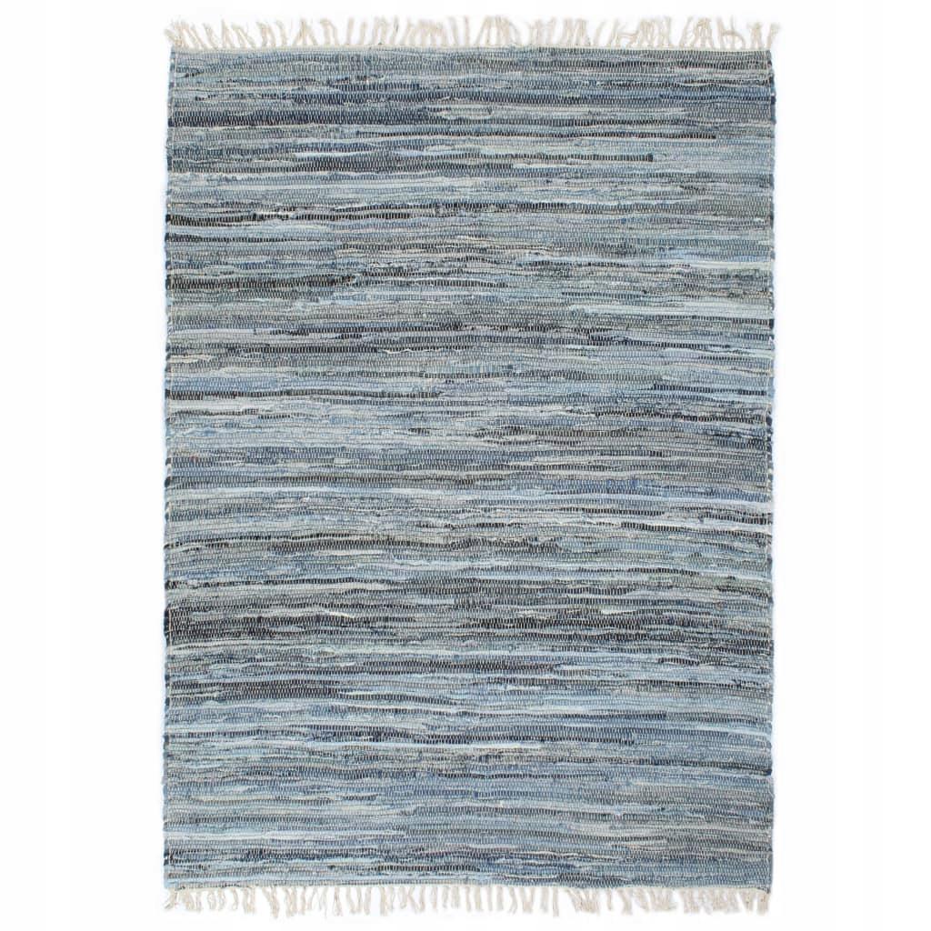 Ręcznie tkany dywanik Chindi, dżins, 160x230 cm