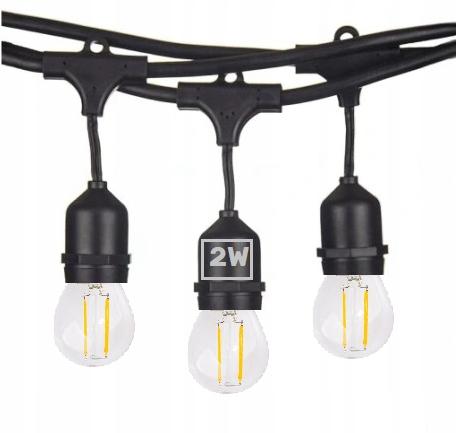Girlanda Ogrodowa 20m +żarówki LED 2W E27 ⌀4,5cm