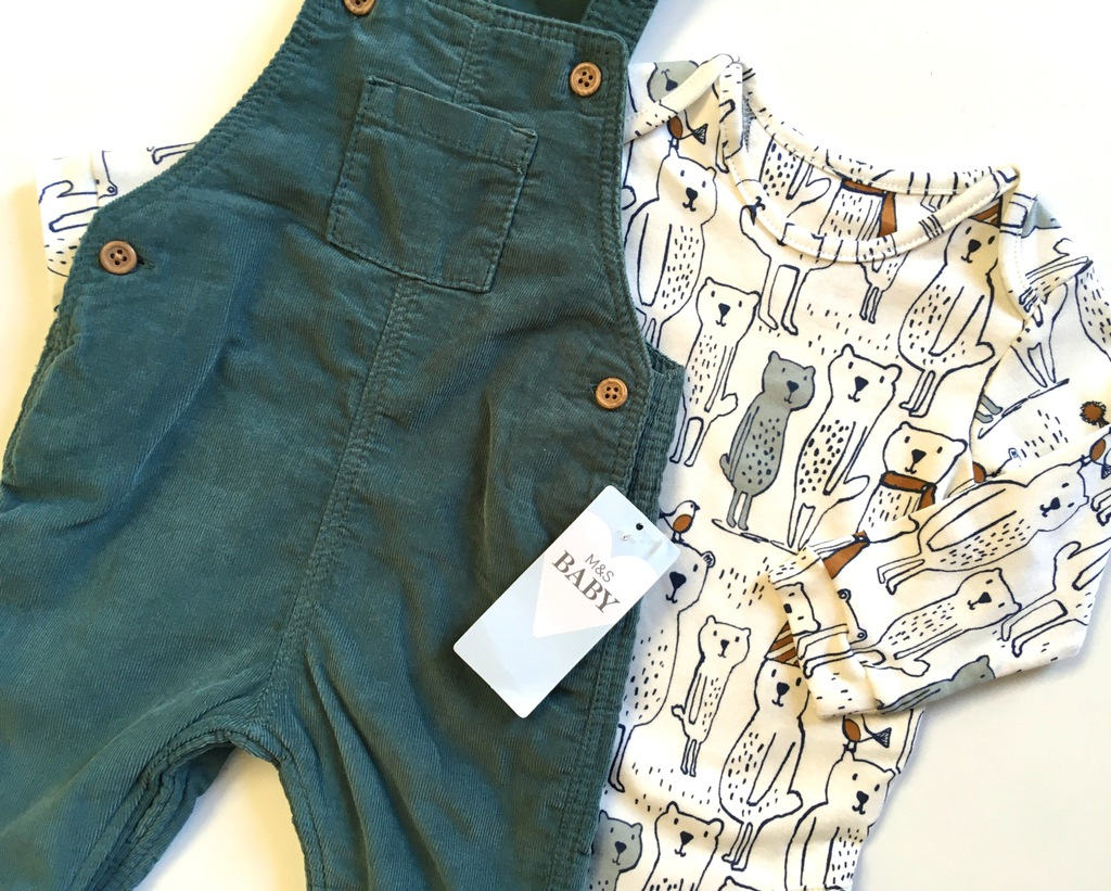 M&S body spodnie ogrodniczki sztruks 68 3-6m