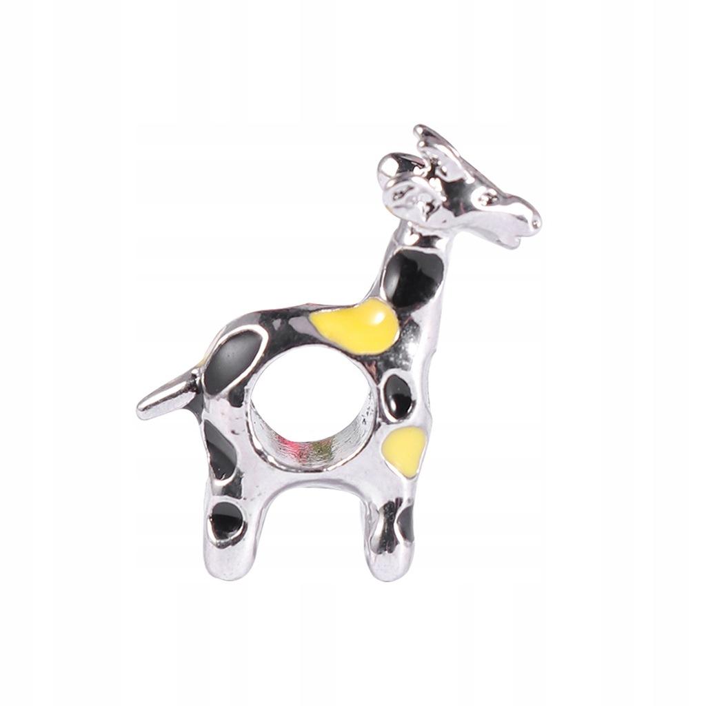 Moda Alloy Metalowe srebrne koraliki z żyrafą Urok