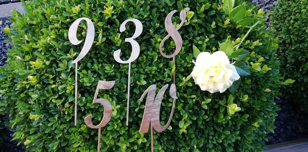 Cyfry numery na stoły 18 cm malowane