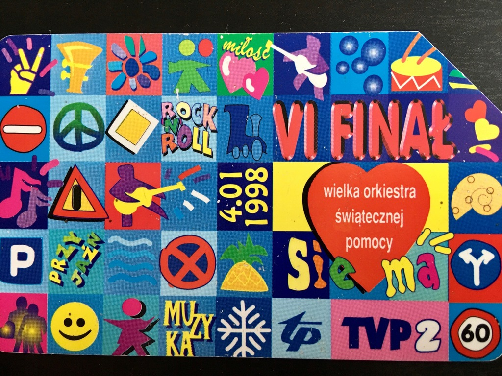 Karta telefoniczna (25) VI Finał WOŚP 4.01.1998