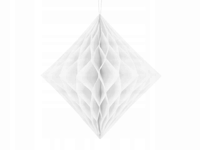 Diament bibułowy biały 20cm, 50 szt.