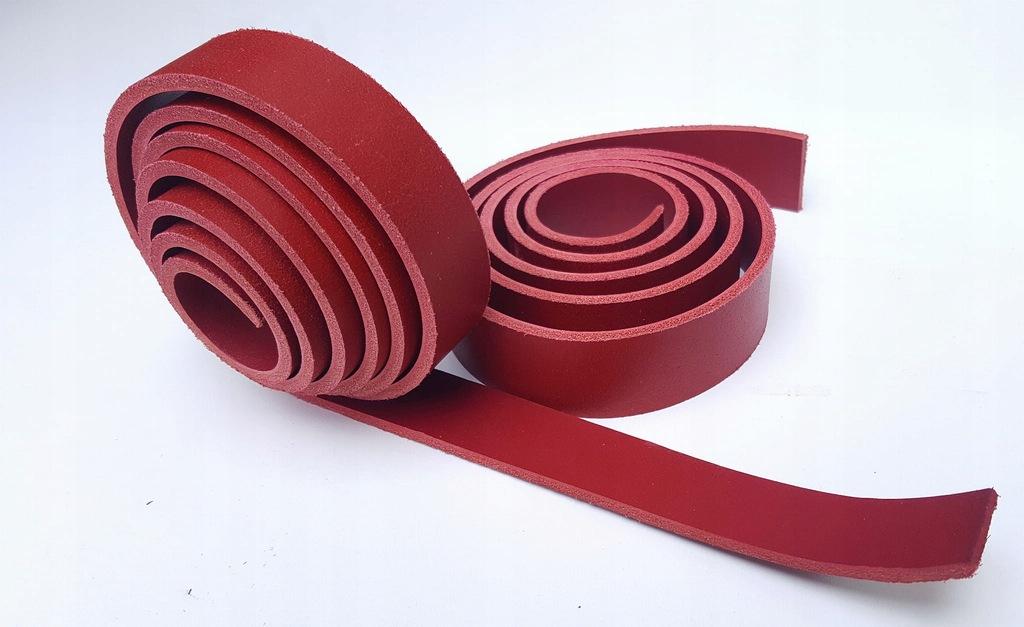 Pas skórzany 3,5 mm 3x110 cm czerwony SKAZA