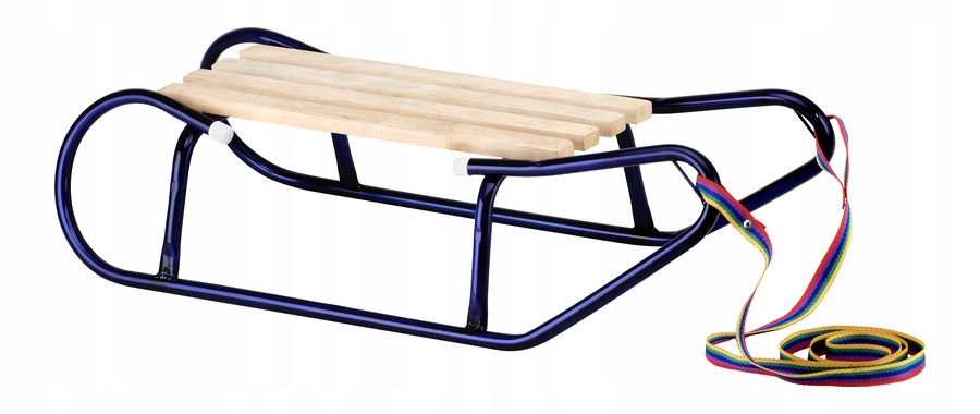 Metalowe sanki z drewnianym siedziskiem dla dzieci