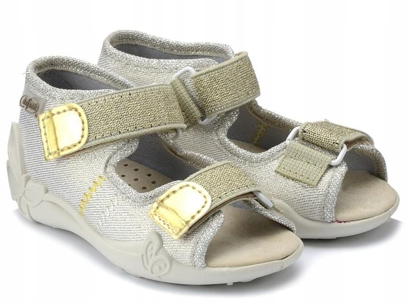 Sandały kapcie Befado 342p003 złote dziewczęce 20