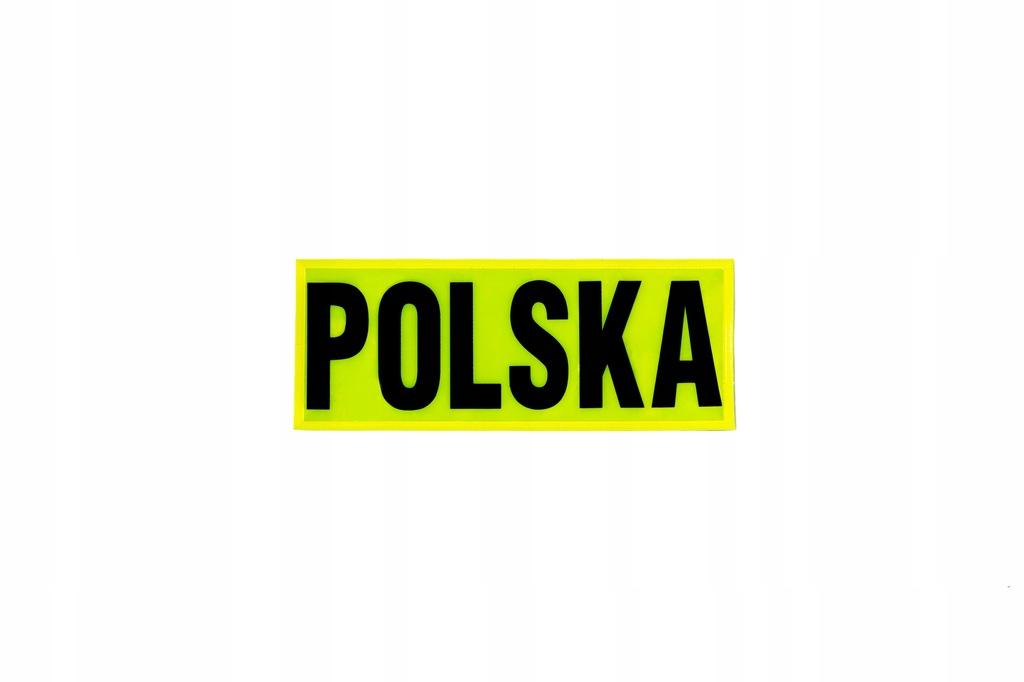 Emblemat, napis, POLSKA żółty 5 cmx12,5 cm