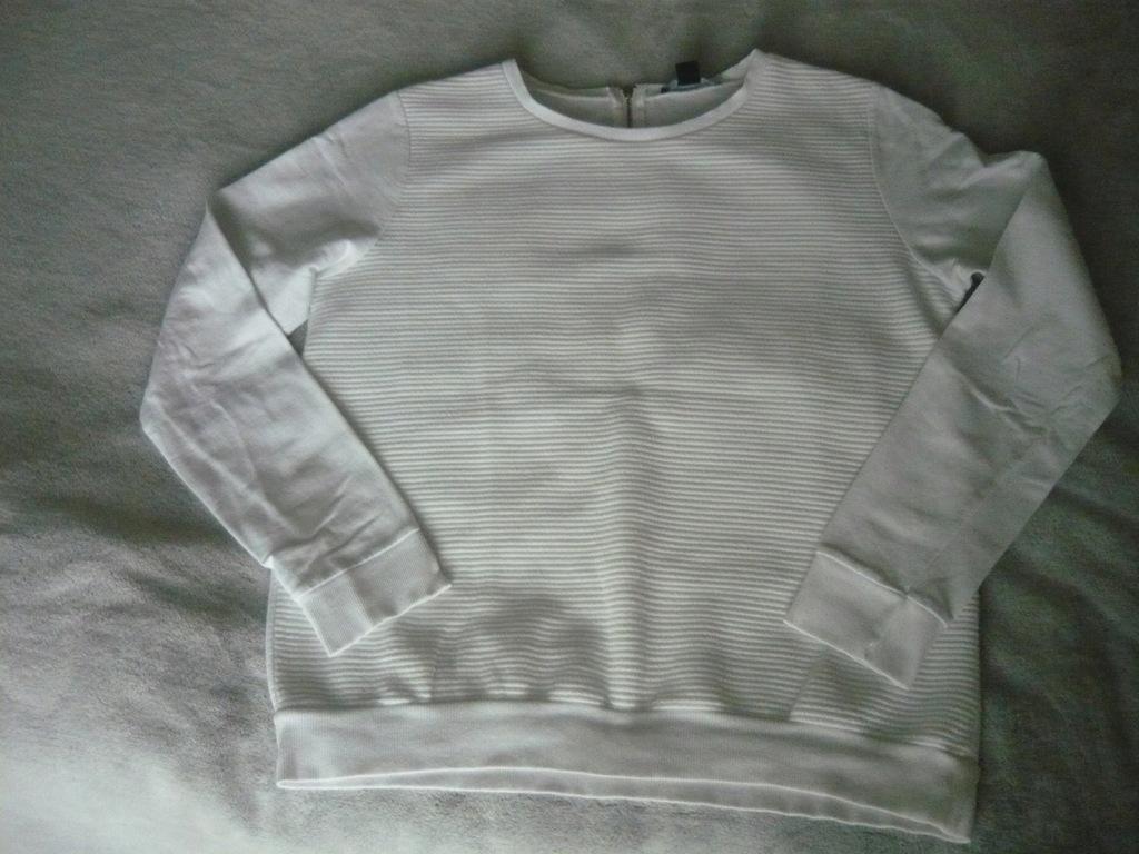 ATMOSPHERE bluza damska biała prążkowana zamek r.L