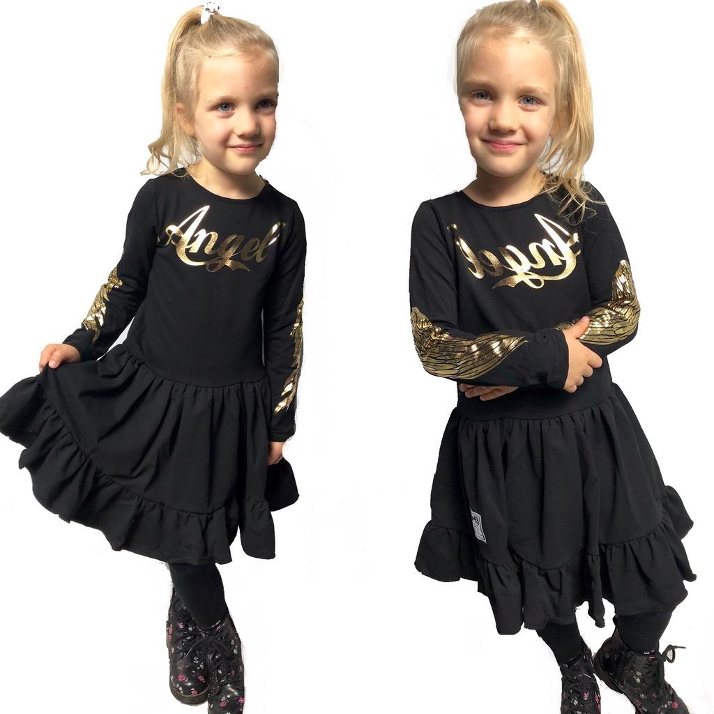 Sukienka dziewczęca ze skrzydłami ANGEL 116 czarna