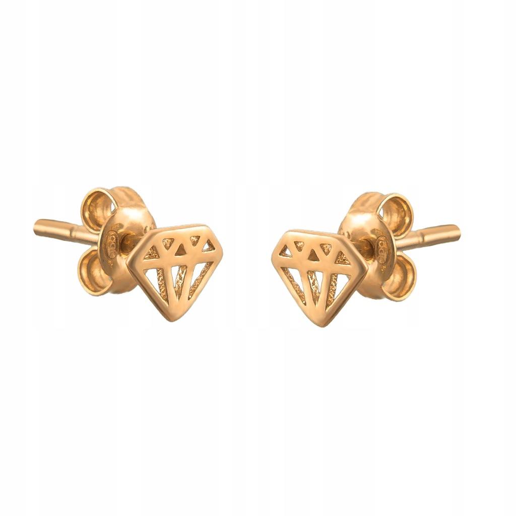 Złote DZIECIĘCE Kolczyki SZTYFT pr333 DIAMENT