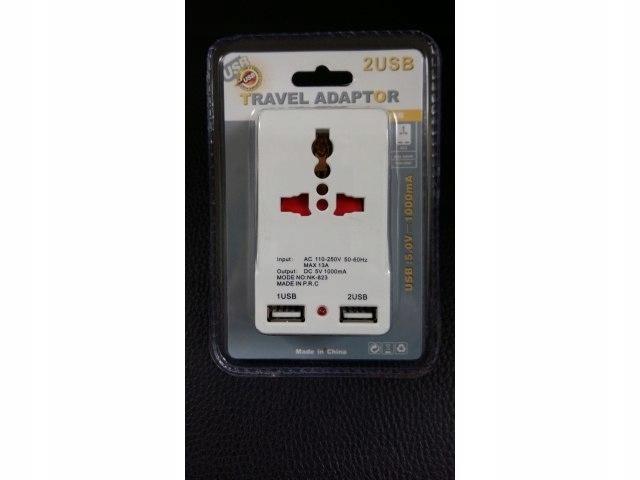 Universalny Travel Adapter 2 usb1000mA 5V