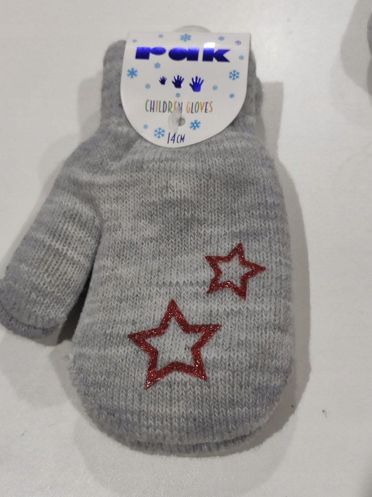 Rękawiczki niemowlęce YO! R-124DB SZARE 14CM