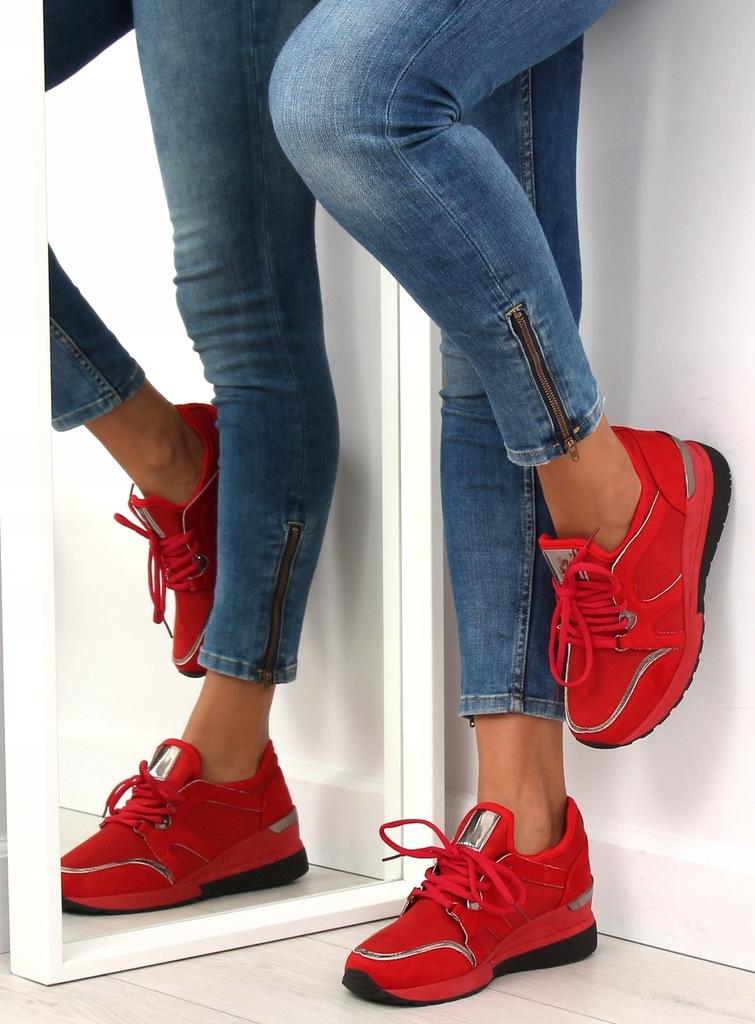 Buty sportowe damskie czerwone 38 6,00 ocieplane