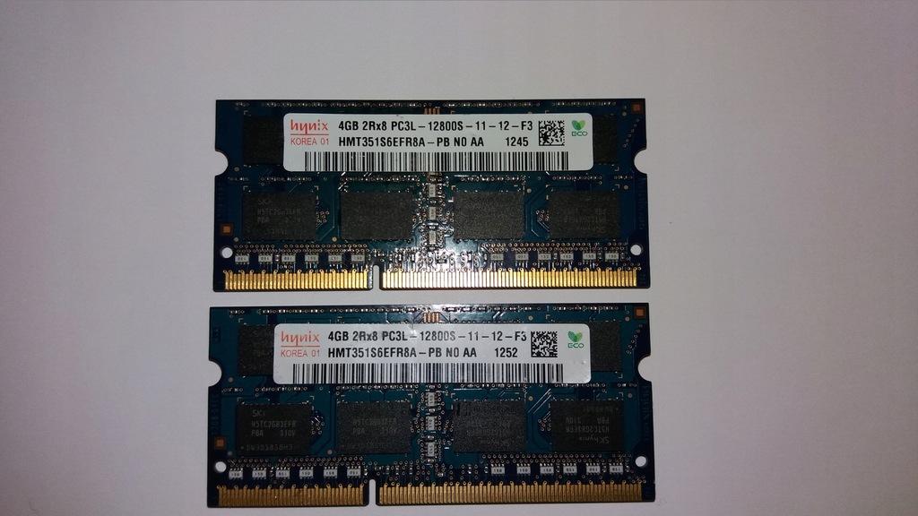 Pamięć RAM 8GB 2x4GB SO-DIMM PC3L 12800S 1600MHz