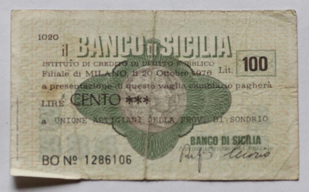 Włoski czek - Banca Sicilia 100