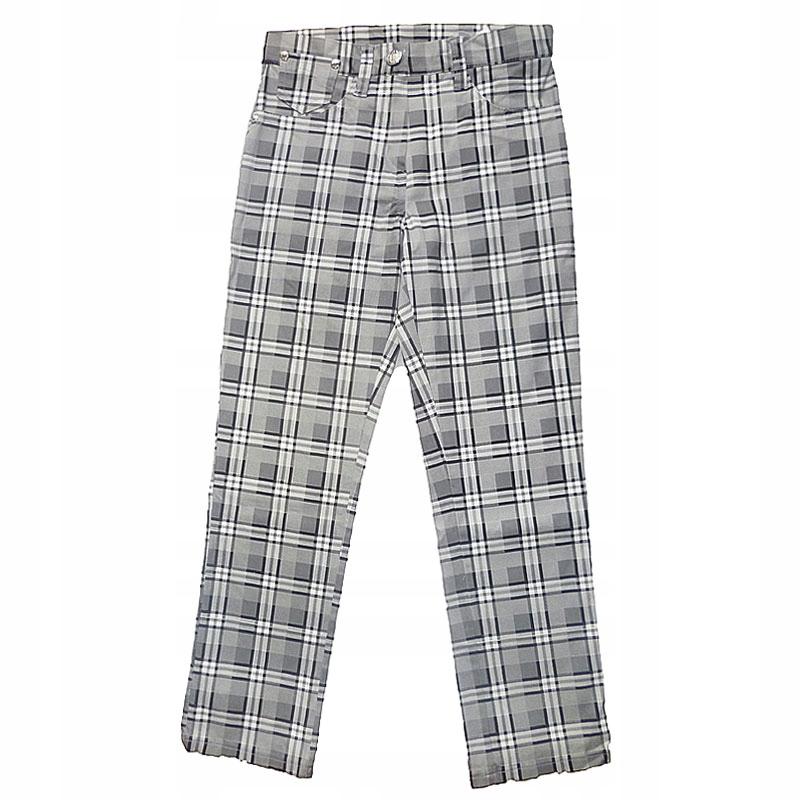 Spodnie dziewczęce w kratkę 134 szare