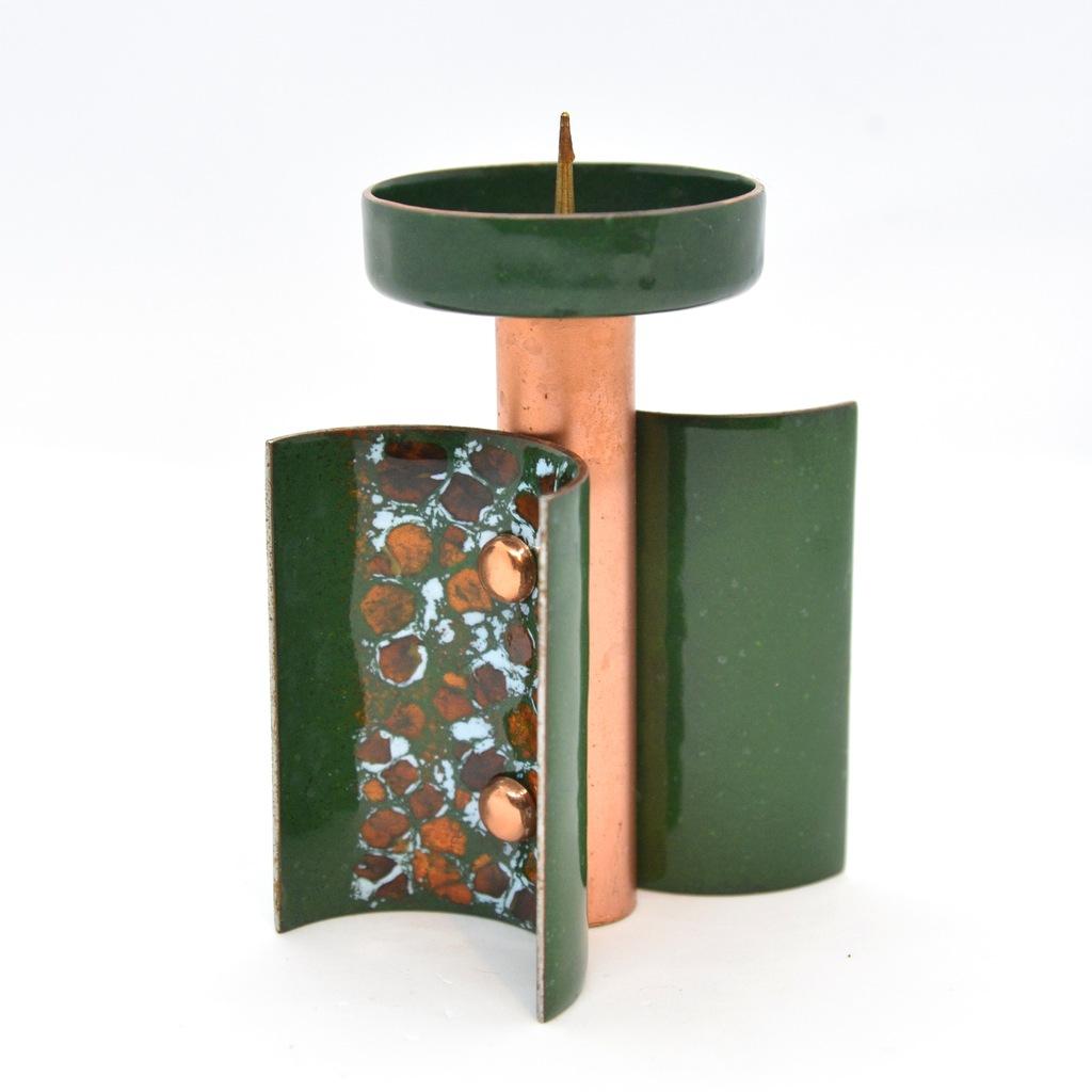 Emaliowany świecznik miedziany, Niemcy, lata 60.