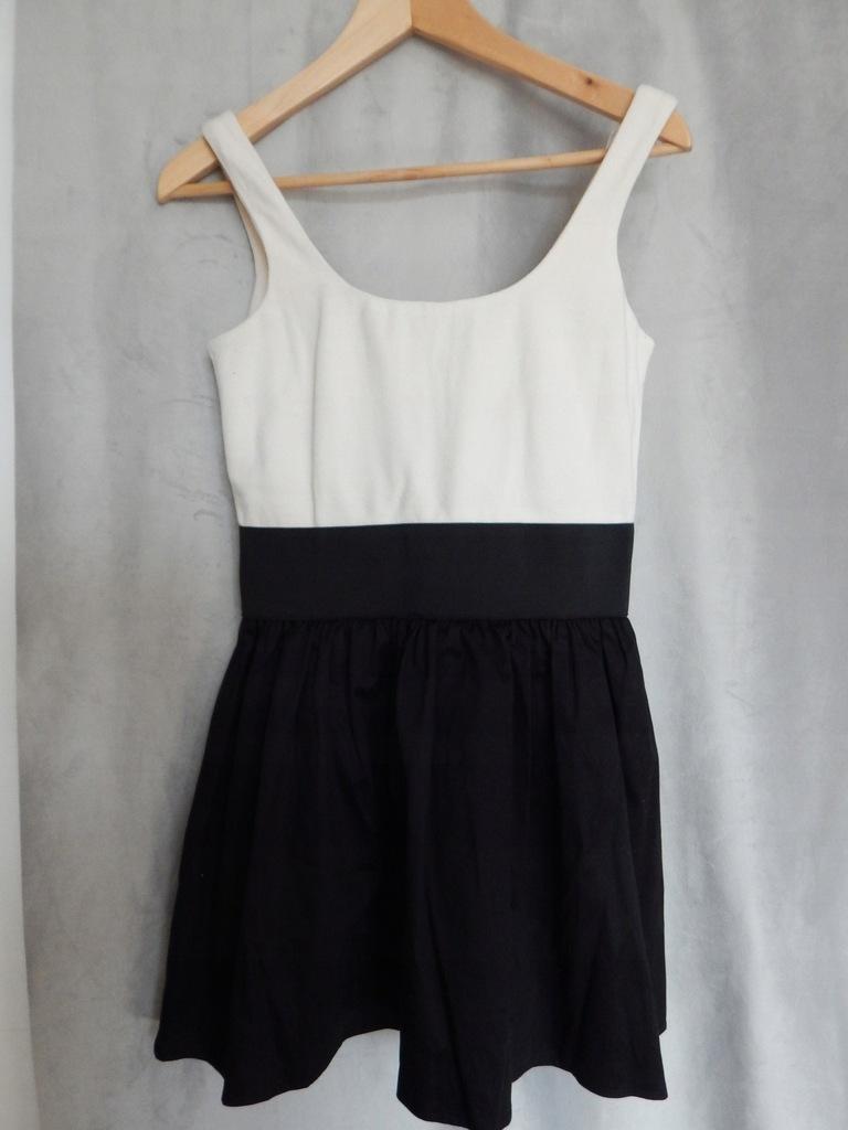 Biało czarna sukienka ZIP rozm. 34 XS / 36 S
